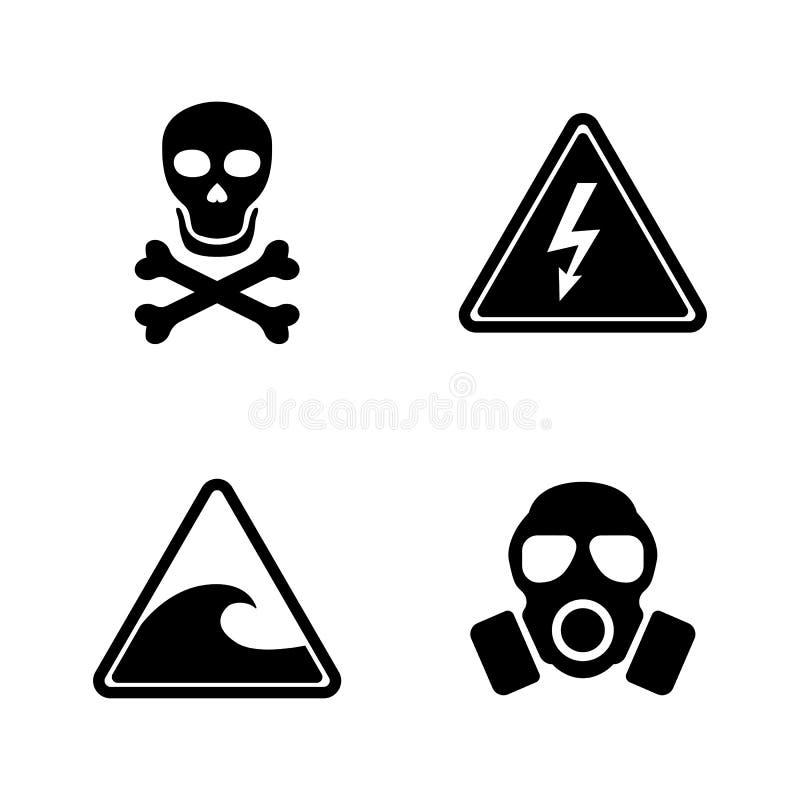 Il pericolo Icone relative semplici di vettore royalty illustrazione gratis