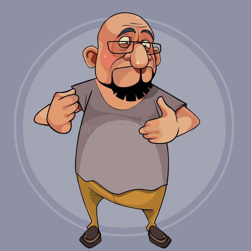 Il personaggio dei cartoni animati è un uomo barbuto ed è sorpreso illustrazione vettoriale