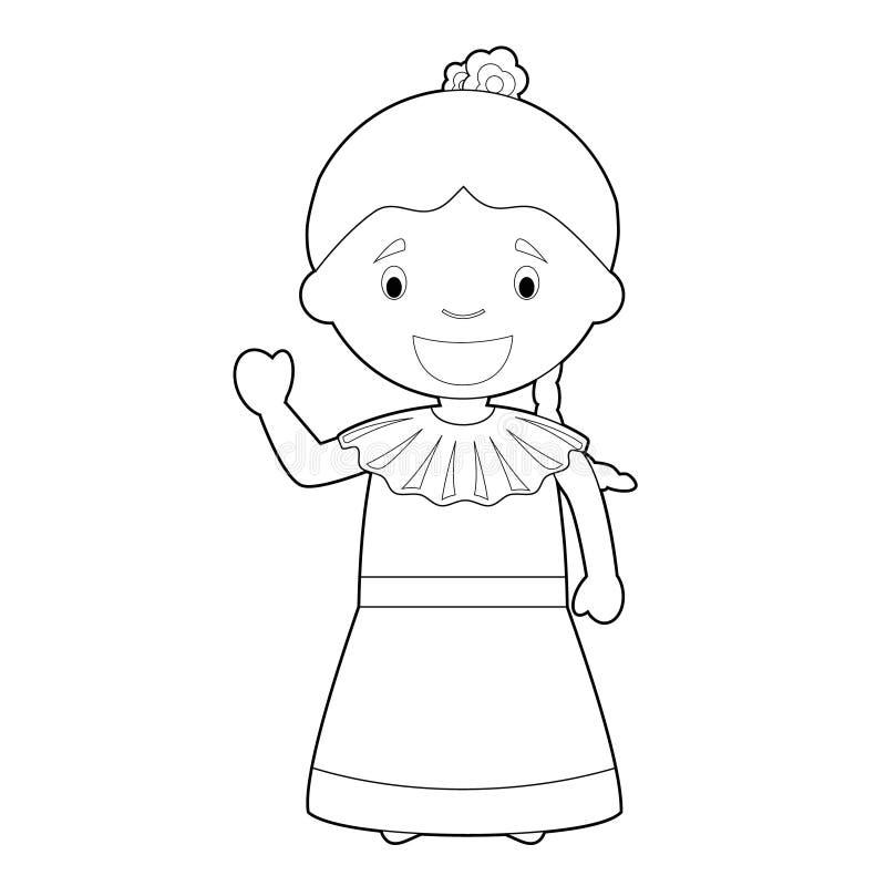 Il personaggio dei cartoni animati di coloritura facile dal Venezuela si è vestito nell'illustrazione tradizionale di vettore di  illustrazione vettoriale