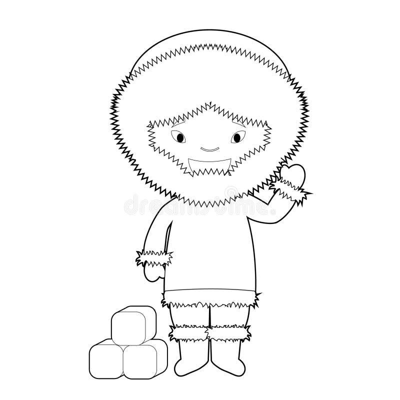 Il personaggio dei cartoni animati di coloritura facile dalla Groenlandia si è vestito nel modo tradizionale come gente di skimo  illustrazione di stock