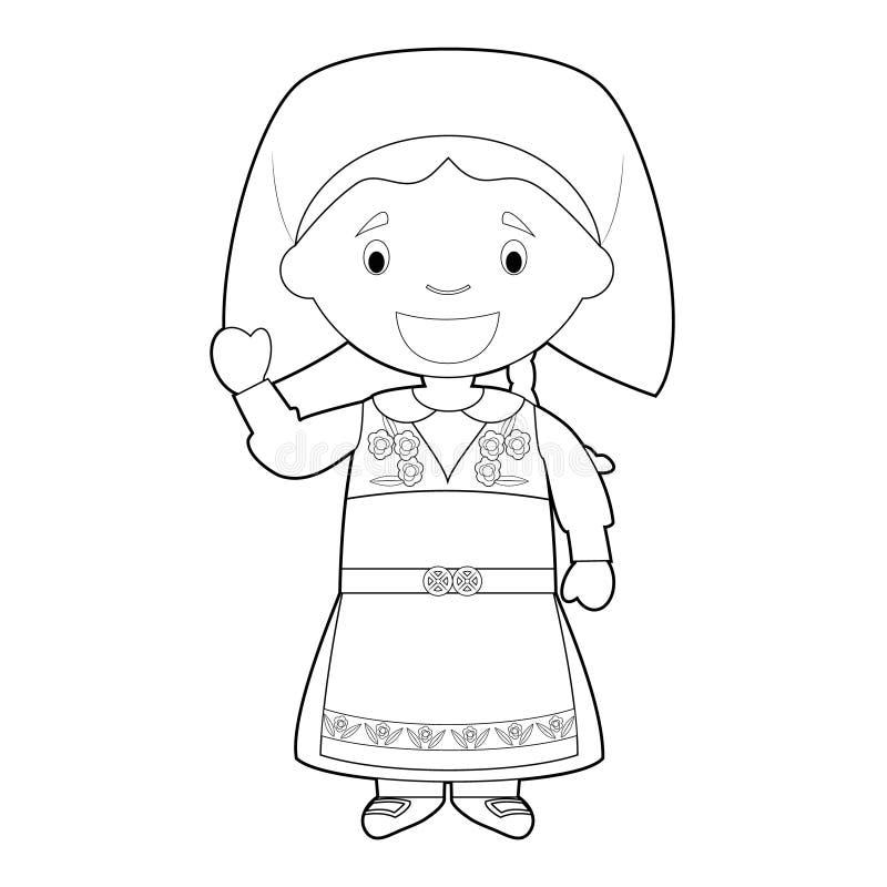 Il personaggio dei cartoni animati di coloritura facile dalla Svezia si è vestito nell'illustrazione tradizionale di vettore di m royalty illustrazione gratis