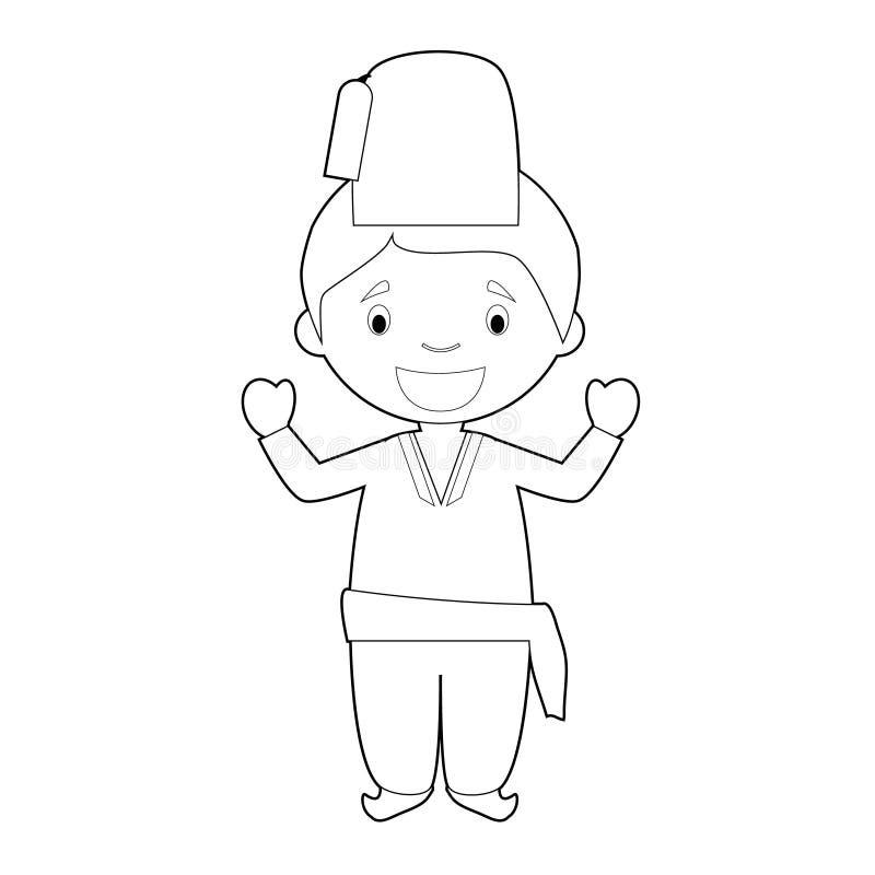 Il personaggio dei cartoni animati di coloritura facile dalla Turchia si è vestito nell'illustrazione tradizionale di vettore di  illustrazione di stock