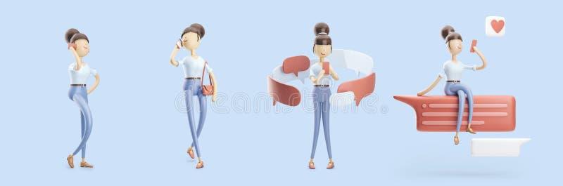 Il personaggio dei cartoni animati sta inviando un messaggio e sta parlando sul telefono Insieme delle illustrazioni 3d illustrazione vettoriale