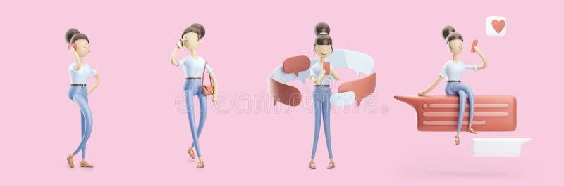 Il personaggio dei cartoni animati sta inviando un messaggio e sta parlando sul telefono Insieme delle illustrazioni 3d illustrazione di stock
