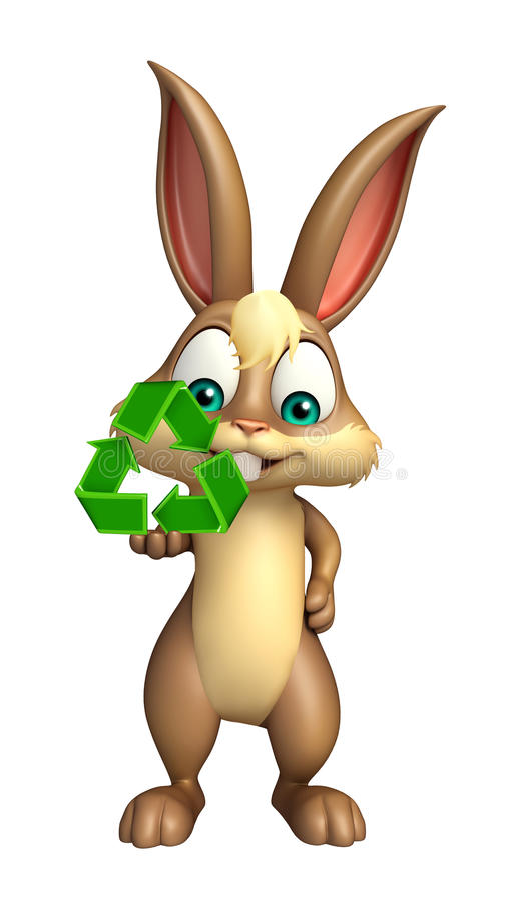 Il personaggio dei cartoni animati sveglio del coniglietto con ricicla il segno illustrazione vettoriale