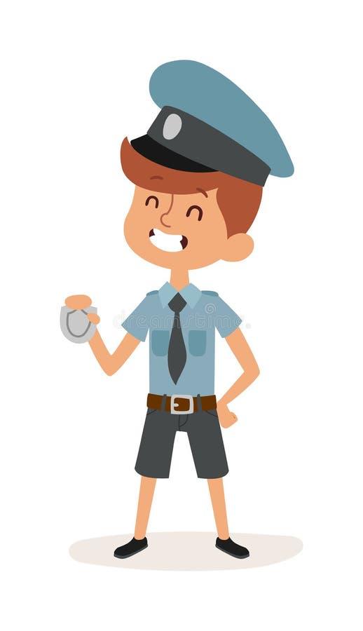 Il personaggio dei cartoni animati sveglio del ragazzo del poliziotto in mani dell'uniforme, del cappuccio e del distintivo affer illustrazione vettoriale