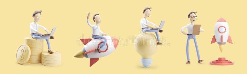 Il personaggio dei cartoni animati vola su un razzo in spazio Insieme delle illustrazioni 3d concetto della partenza di ind di cr royalty illustrazione gratis