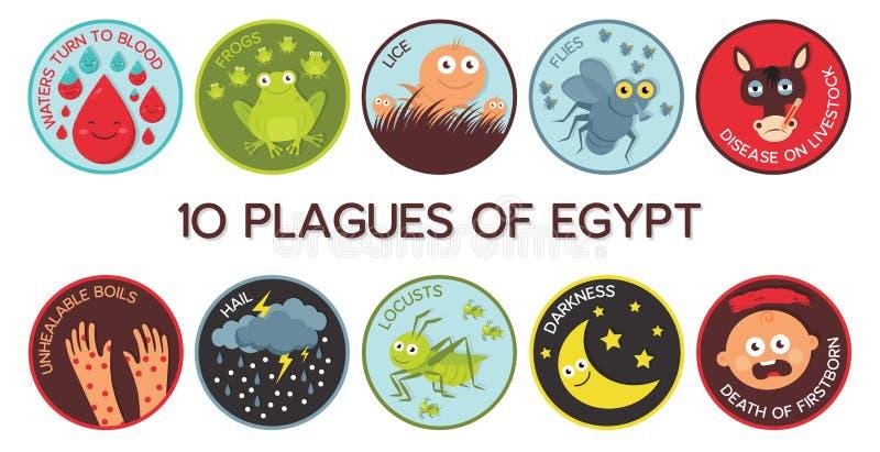 Il pesach dieci contagia del vettore del fumetto dell'Egitto illustrazione di stock
