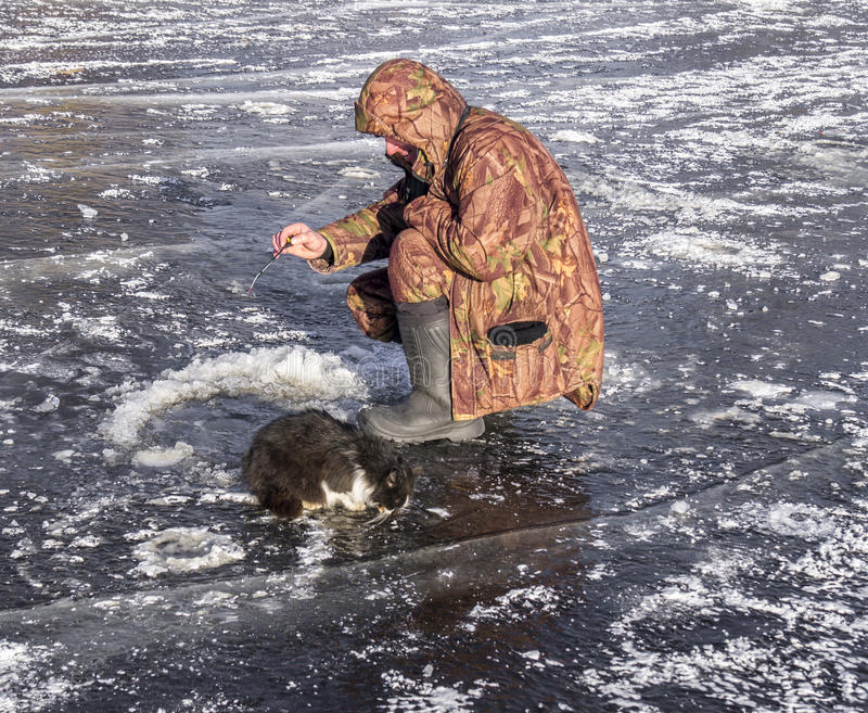 Il pescatore con un gatto su ghiaccio fotografia stock