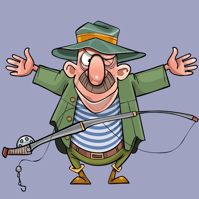 Il pescatore maschio del fumetto con una canna da pesca ostenta un fermo illustrazione di stock