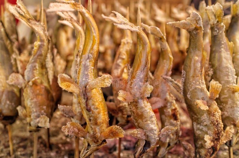 Il pesce arrostito del sale giapponese, lo ha grigliato con sale sopra un fuoco del carbone, alimento giapponese tradizionale del fotografie stock libere da diritti