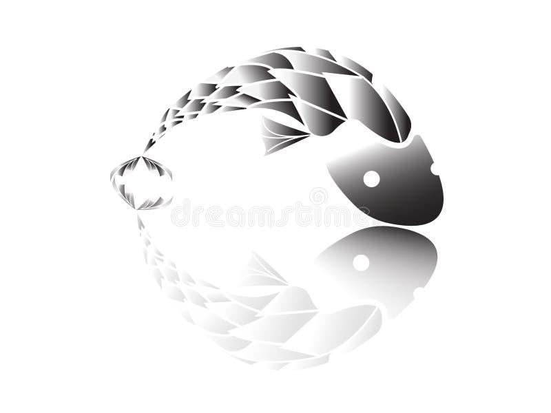 Il pesce del metallo sta saltando il logo e l'icona royalty illustrazione gratis