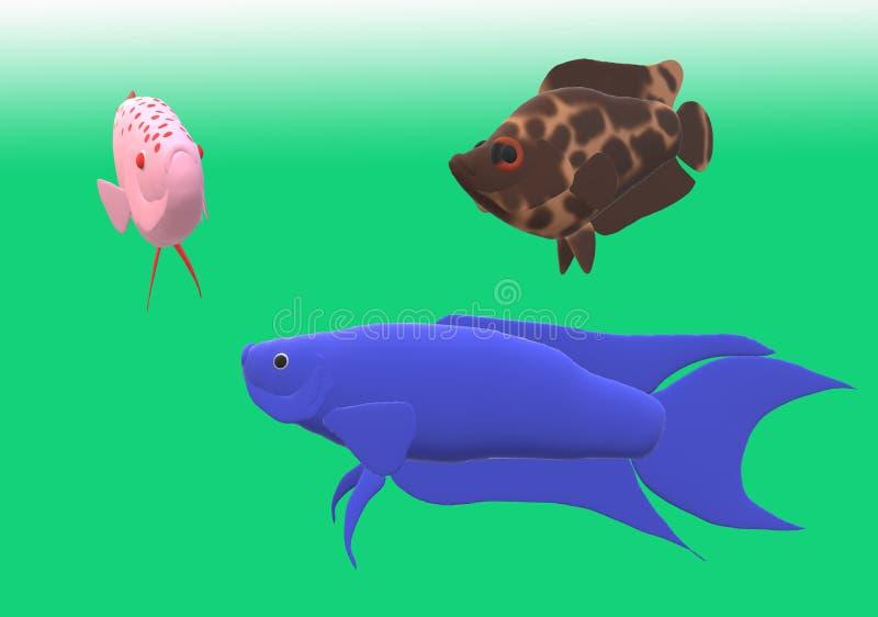 Il pesce di gorami nero di paradiso e un cespuglio del leopardo pescano nell'illustrazione 3D immagine stock