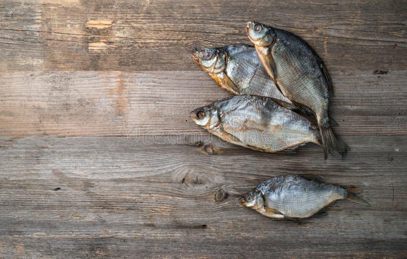 Il pesce essiccato salato, spazio del testo ha andato, topview fotografia stock libera da diritti