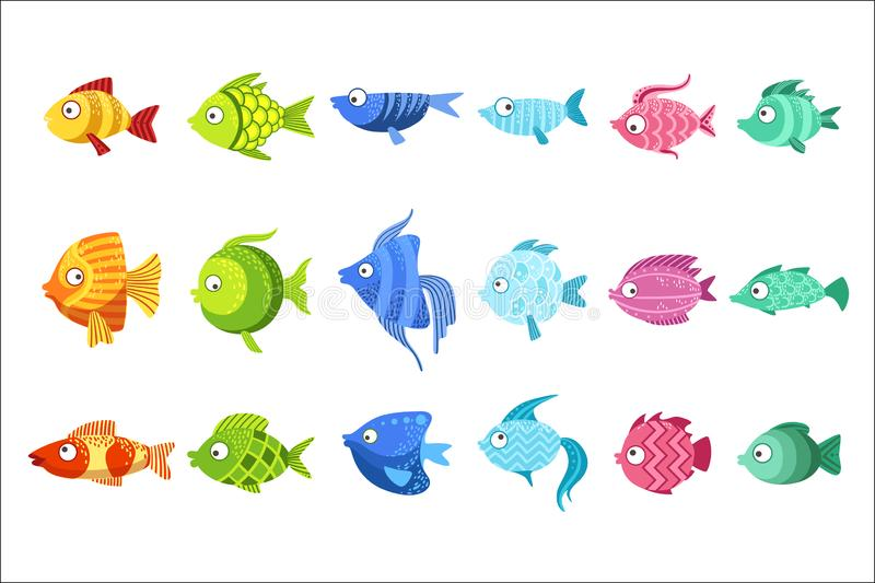 Il pesce variopinto ha messo delle illustrazioni puerili di vettore di progettazione di colore luminoso sveglio isolate su fondo  royalty illustrazione gratis