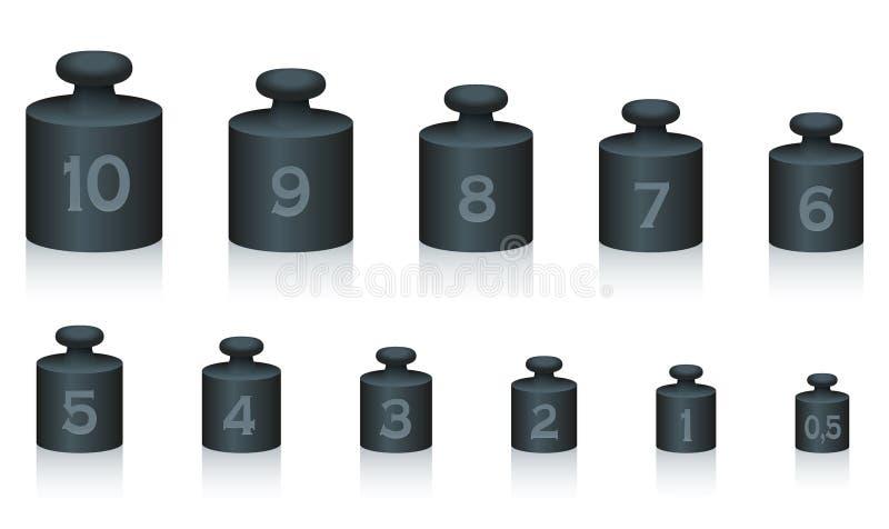 Il peso ammassa il ferro nero illustrazione vettoriale