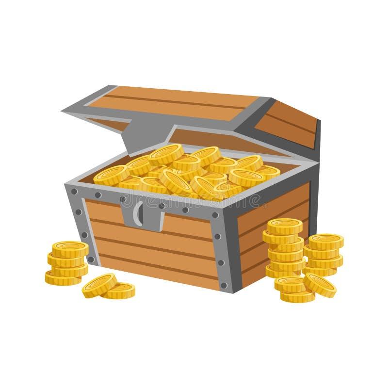 Il petto di legno riempito di monete dorate, di tesoro nascosto e di ricchezze per ricompensa nel flash è venuto la variazione di illustrazione vettoriale