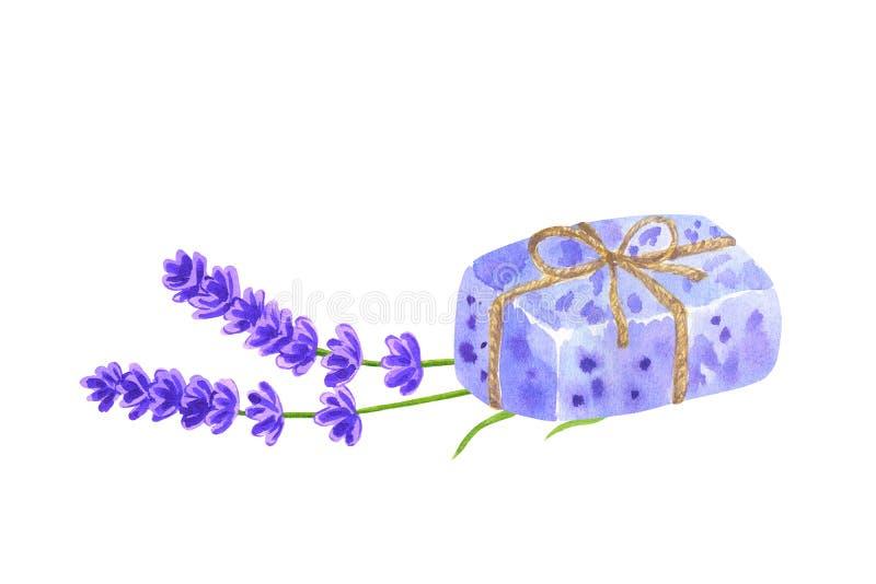 Il pezzo di lavanda viola ha avvolto i fiori della lavanda e del sapone Illustrazione disegnata a mano dell'acquerello Isolato su illustrazione vettoriale