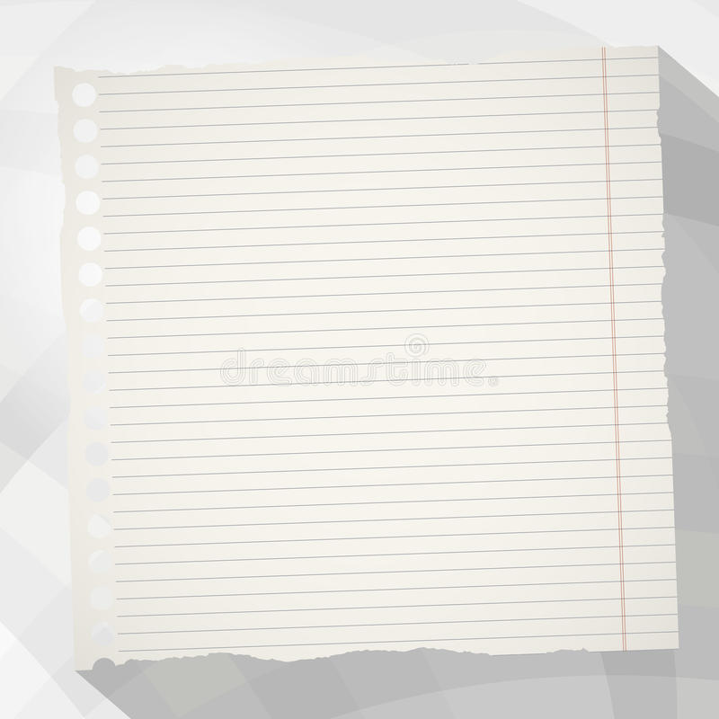 Il pezzo di spazio in bianco bianco lacerato ha allineato la carta del taccuino con ombra lunga su fondo grigio creato dalle form royalty illustrazione gratis