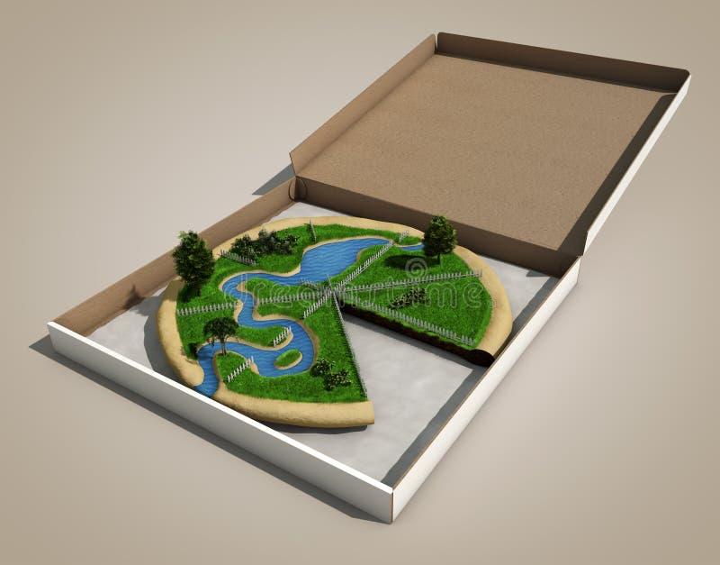 Il pezzo di terra gradice una pizza illustrazione vettoriale