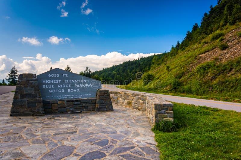 Il più alto punto su Ridge Parkway blu, in Nord Carolina fotografie stock libere da diritti