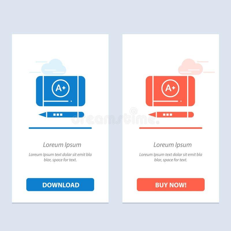 Il più bene classifichi, raggiunga, blu di istruzione e download rosso e compri ora il modello della carta del widget di web illustrazione vettoriale