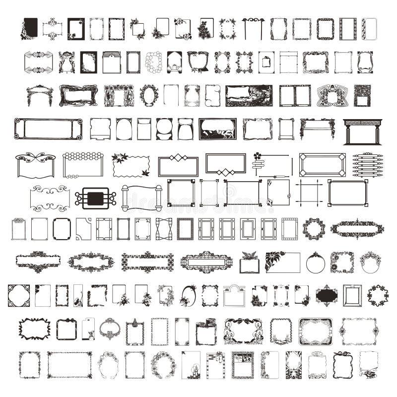 Il più grande insieme dei telai di 2 centinaia Bello vettore nell'alta risoluzione Bello vettore immagini stock