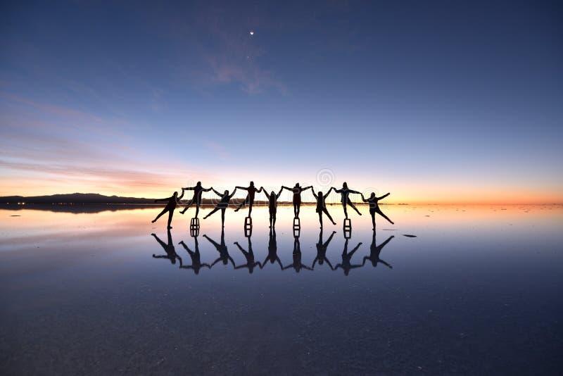 Il più grande piano del sale del mondo, Salar de Uyuni, Bolivia fotografia stock libera da diritti