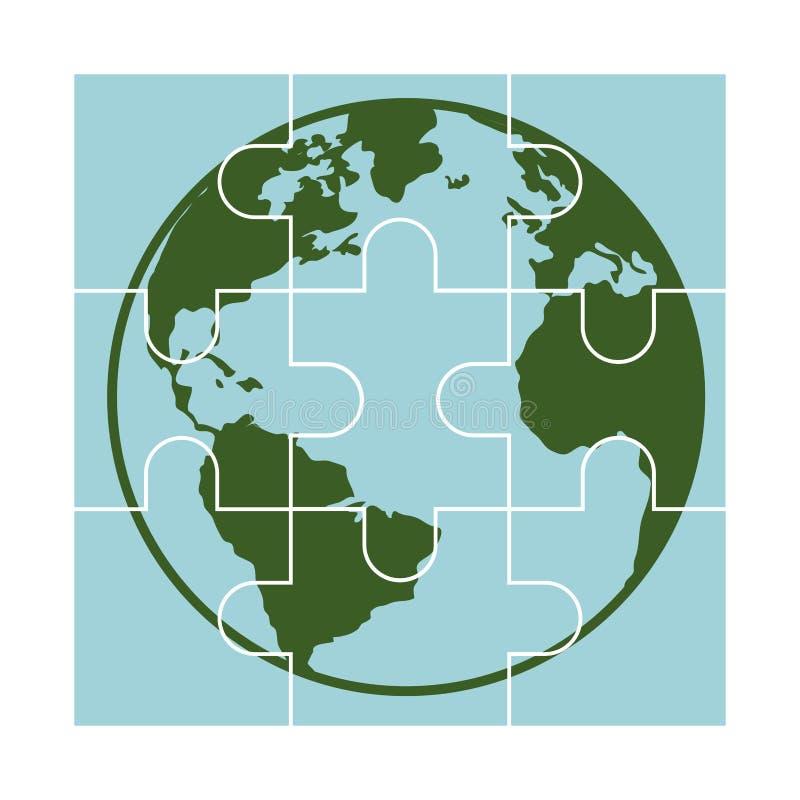 Il pianeta del mondo con il gioco di puzzle collega l'icona isolata illustrazione di stock