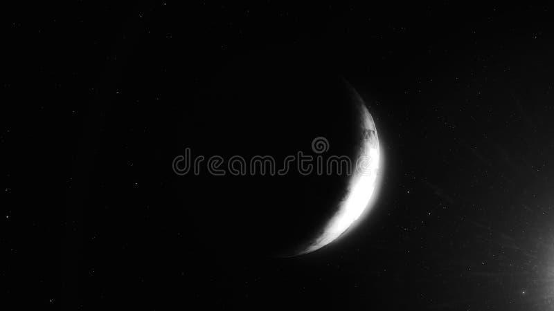 Il pianeta lontano solo gira nello spazio scuro profondo con la riflessione del sole Tramonto sul pianeta straniero Nel cielo ste illustrazione vettoriale
