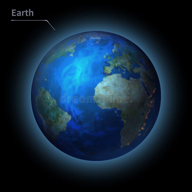 Il pianeta realistico della terra è isolato sul cielo cosmico nell'oscurità della galassia illustrazione vettoriale