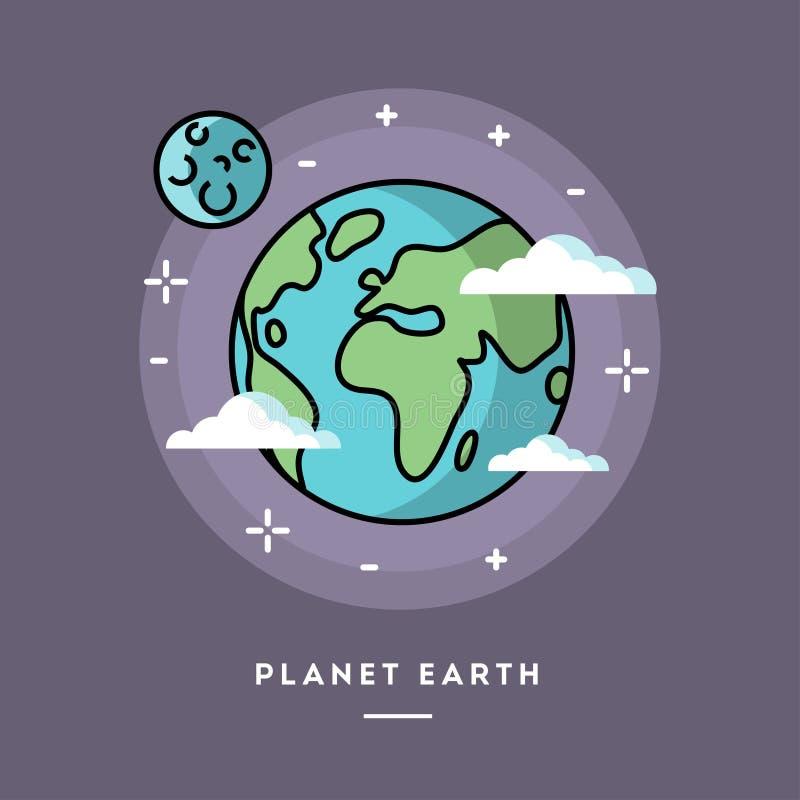 Il pianeta Terra visto da spazio, allinea l'insegna piana di progettazione illustrazione di stock