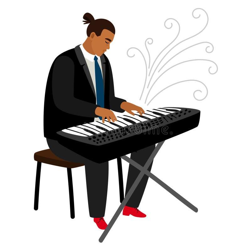 Il pianista di jazz gioca sul sintetizzatore, personaggio dei cartoni animati di vettore royalty illustrazione gratis