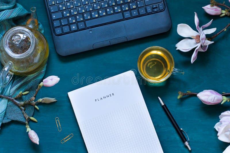 Il piano accogliente dell'area di lavoro pone con i fiori della magnolia, computer portatile e tè verde, immagine stock libera da diritti