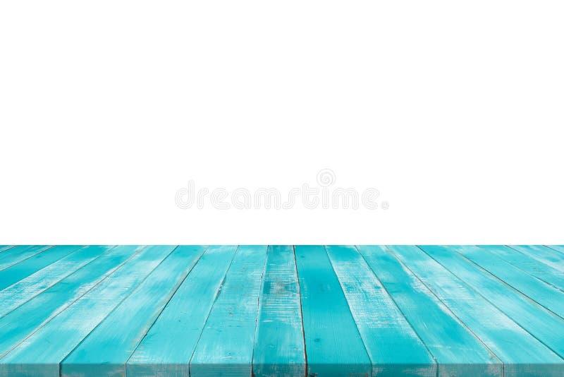Il piano d'appoggio blu di legno vuoto su bianco ha isolato il fondo, spac della copia fotografia stock libera da diritti