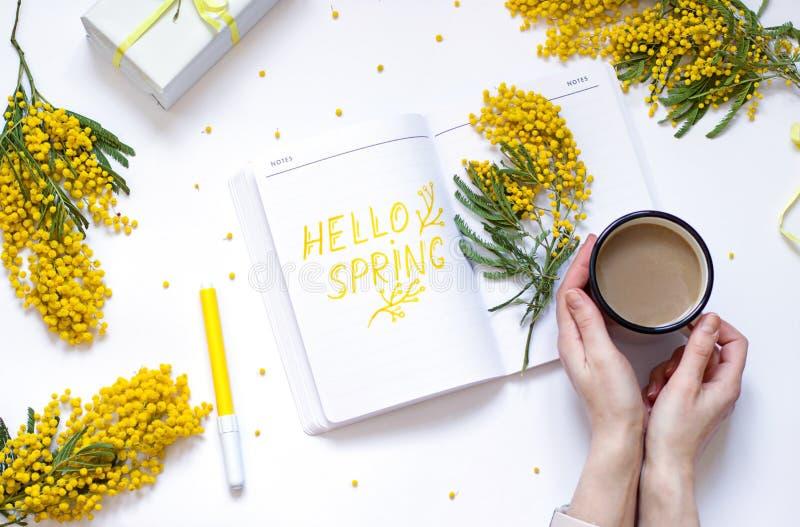 Il piano della primavera pone con i fiori gialli, blocco note La mano della donna sta tenendo una tazza di caffè fotografia stock libera da diritti