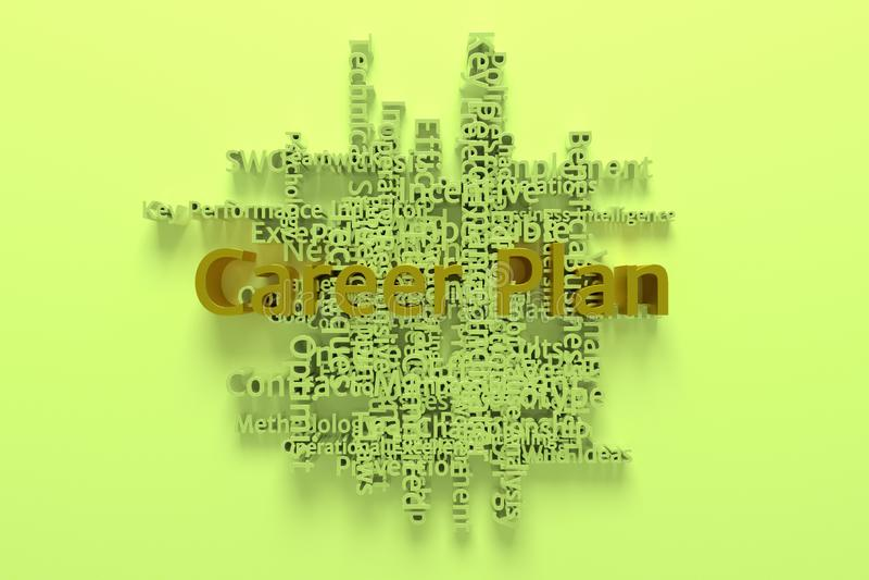 Il piano di carriera, la parola chiave di affari e le parole si appannano Per la pagina Web, la progettazione grafica, la struttu illustrazione di stock