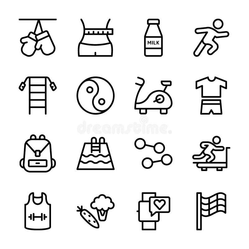 Il piano di dieta, sport completa, icone di nutrizione royalty illustrazione gratis