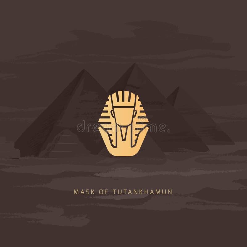 Il piano dorato egiziano dell'icona della maschera dei pharaohs dell'illustrazione della maschera di sepoltura ha isolato royalty illustrazione gratis