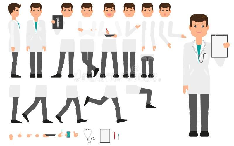 Il piano fa l'insieme della creazione del carattere di medico illustrazione di stock