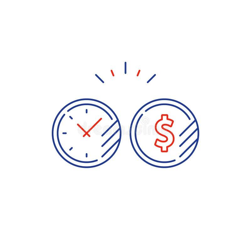 Il piano, il tempo ed i soldi di investimento a lungo termine coniano la linea icona illustrazione di stock