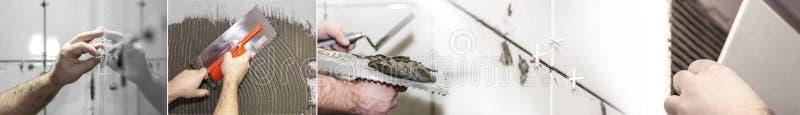 Il piastrellista del lavoratore mette le piastrelle di ceramica, collage della foto fotografia stock libera da diritti