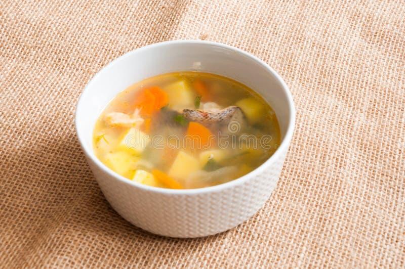 Il piatto bianco con la minestra del pesce fotografia stock libera da diritti