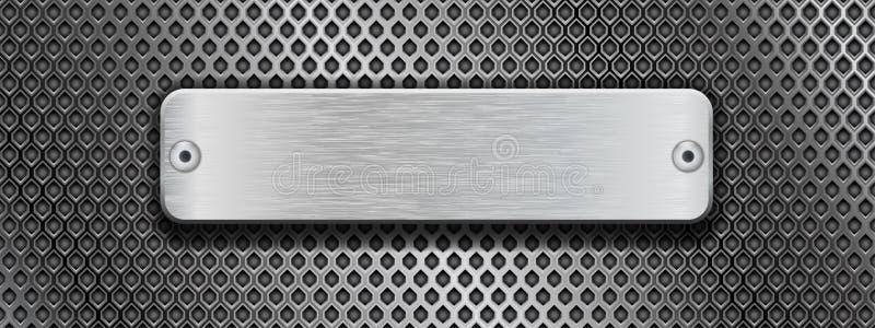 Il piatto d'acciaio brillante con i ribattini su metallo ha perforato il fondo illustrazione vettoriale