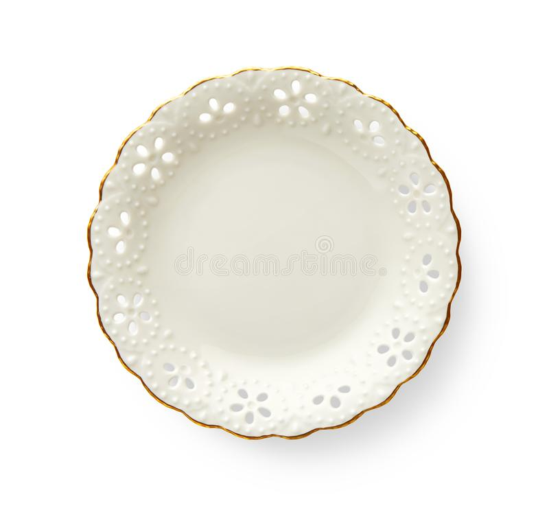 Il piatto vuoto con il bordo dorato del modello, piatto rotondo bianco caratterizza un bello orlo dell'oro con il modello floreal fotografia stock