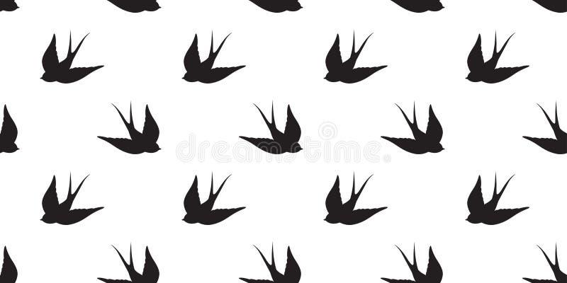 Il piccione senza cuciture di vettore del modello del gabbiano dell'uccello ha isolato il fondo della carta da parati illustrazione vettoriale