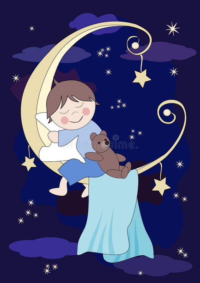 Il piccolo bambino dorme sulla luna illustrazione vettoriale