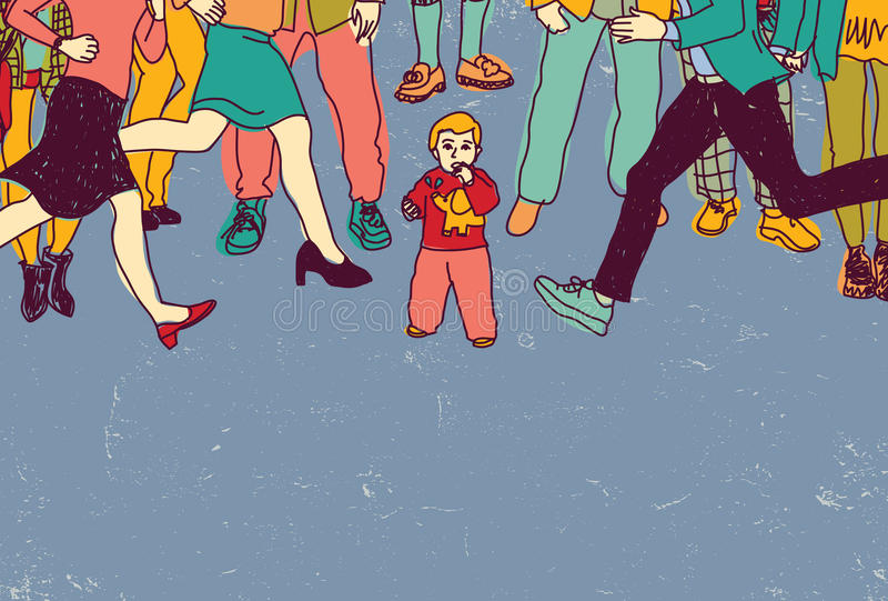Il piccolo bambino ha perso da solo nel colore del pericolo della gente della folla illustrazione di stock