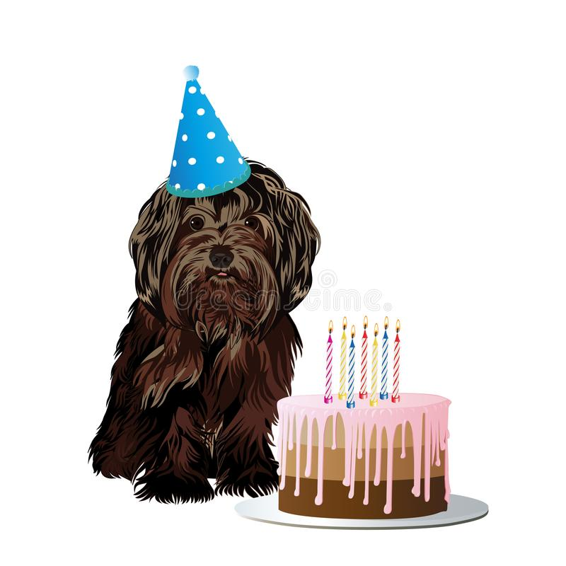Il piccolo cane sveglio celebra il compleanno con un dolce delizioso illustrazione di stock