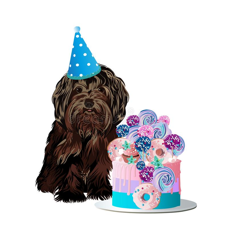 Il piccolo cane sveglio celebra il compleanno con un dolce delizioso royalty illustrazione gratis